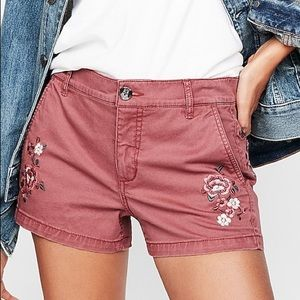 NWT Express embroidered twill shorts mid rise 4